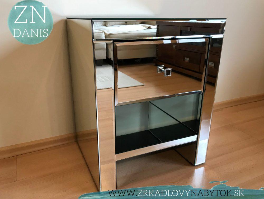 zrkadlový nočný stolík reno