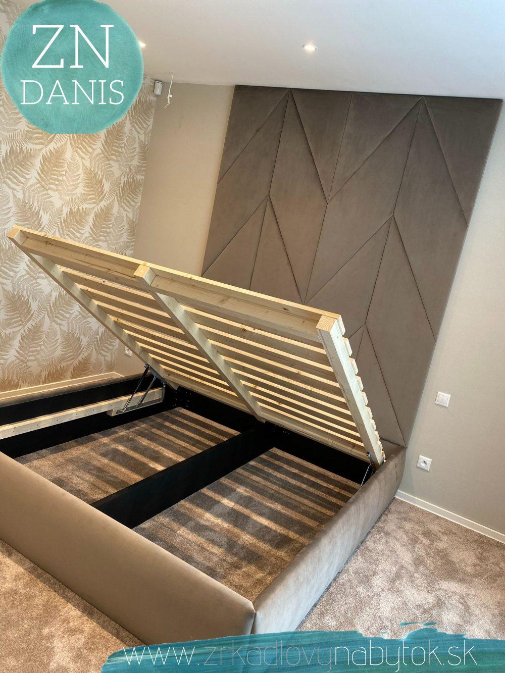 luxusná čalunená posteľ chevron