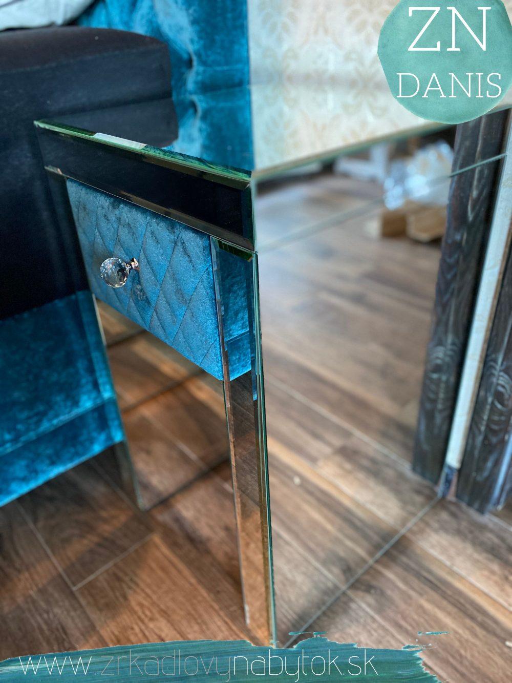 zrkadlový nočný stolík petrol